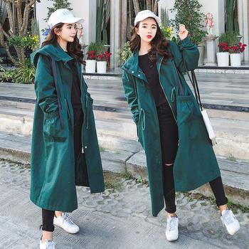 KDN2019新款韩版原宿风宽松连帽风衣韩版系带简约外套