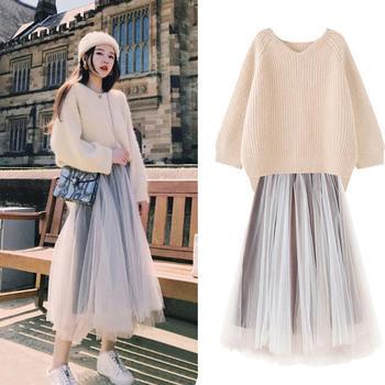 KDN女毛衣+网纱超仙连衣裙两件套装