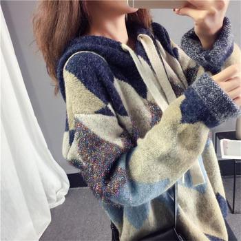 KDN女韩版套?#25151;?#26494;春秋季网红毛衣新款慵懒风针织衫