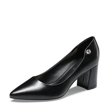 卓诗尼春季新款尖头浅口单鞋女高跟粗跟水钻工作鞋