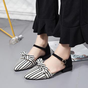 慕沫女鞋2019春夏季凉鞋女一字扣带中低跟粗跟罗马鞋