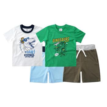 minizone夏季男童卡通短袖T恤短裤套装2件套