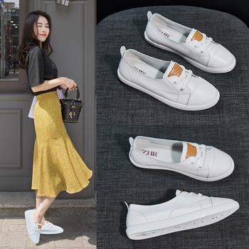 ZHR-低帮女鞋新款牛皮平底休闲板鞋单鞋皮鞋小白鞋女