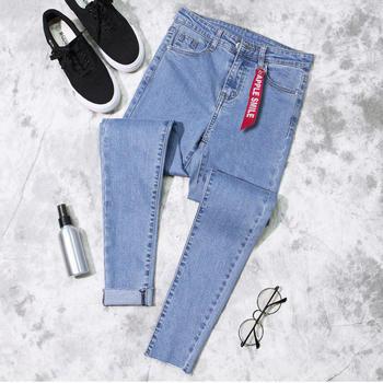 KDN韩版高腰小脚裤弹力修身牛仔裤显瘦黑色铅笔九分裤