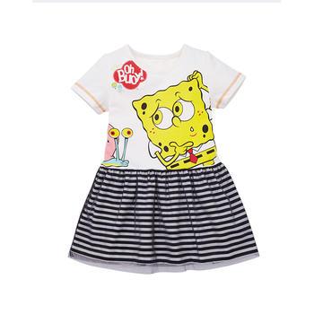 海绵宝宝儿童童装 女童圆领连衣裙 夏季款