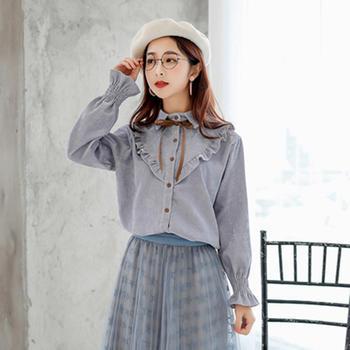 L'BON2019春装新款灯芯绒时尚上衣早春女式木耳边衬衫