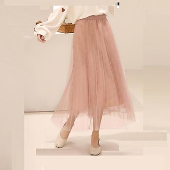 L'BON2019春装少女学生网纱长裙五星角半身裙飘逸裙子