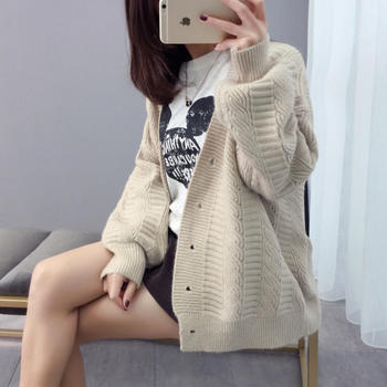 L'BON早春新款针织衫开衫毛衣女学生短款宽松韩版开衫