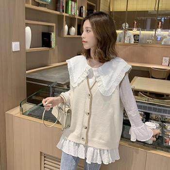L'BON2019新款娃娃领白衬衫配针织毛衣背心马夹套装