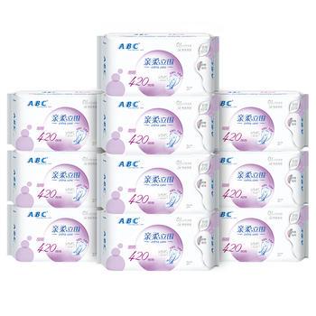 ABC超长夜用420亲肤立围防侧漏棉柔姨妈巾3片*10包