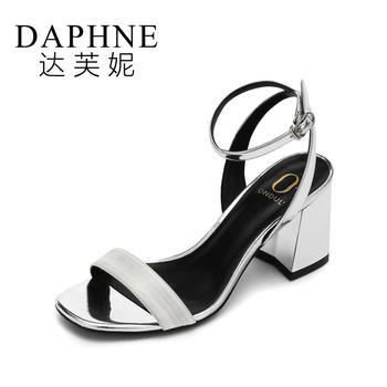 Daphne/达芙妮一字带凉鞋粗高跟露趾凉鞋1017303810