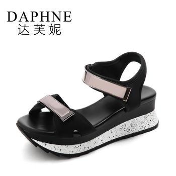 Daphne/达芙妮舒适?#39184;菲?#33394;魔术贴松糕凉鞋