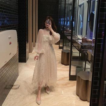 CHINSTUDIO雪梨钱夫人 温柔亮片网纱裙装 chic仙女裙