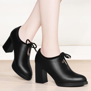 韩版百搭黑色圆头系带女粗跟单鞋