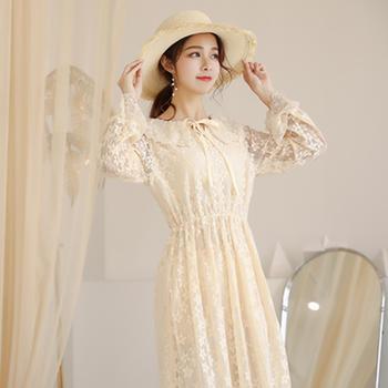 L'BON 2019春装新款韩版女装蕾丝修身中长款连衣裙