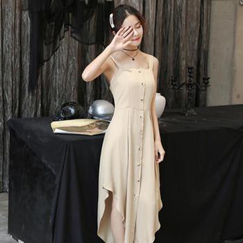 L'BON01新款性感吊带连衣裙修身名媛单排扣少女长裙