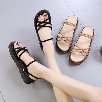 Tatyana新款韩版时尚两穿套脚露趾纯色镂空松糕底凉鞋
