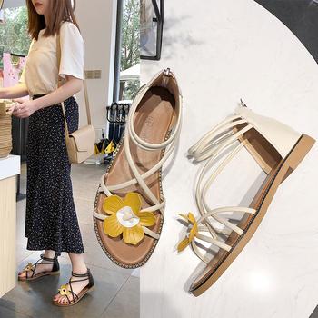Tatyana夏季新款套脚露趾拼色花朵镂空后拉链平底凉鞋