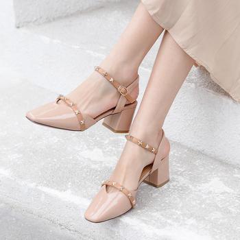 慕沫夏季新款凉鞋女学生一字扣带?#23578;指?#21253;头罗马鞋