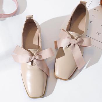 慕沫女鞋春季新款单鞋学生仙女系带鞋英伦风小皮鞋女