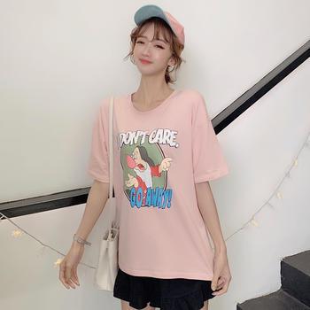 露桖短袖t恤女宽松印花卡通韩版T恤