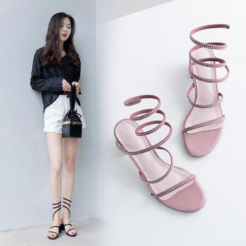 慕沫新款夏季凉鞋女时尚蛇形露趾鞋?#25351;?#20185;女鞋中跟鞋