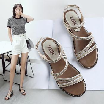 ZHR夏季新款仙女风海边度假凉鞋女网红一字带沙滩鞋