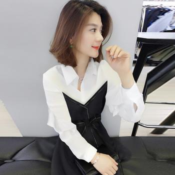 BOBOWALTZ欧洲站新款韩版气质衬衫裙子黑色洋气连衣裙