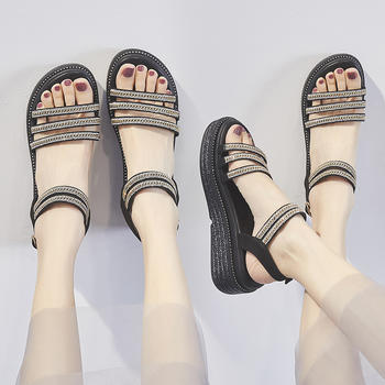 ZHR新款百搭学生厚?#23039;?#31957;罗马凉鞋仙女风chic女鞋子