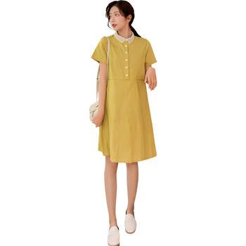 欧丽妈咪孕妇连衣裙夏装哺乳上衣短袖2019新款中长款