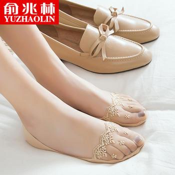 俞兆林蕾丝船袜 脚尖透明刺绣女袜子 浅口隐形防滑袜