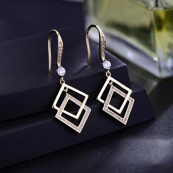 卡洛美 小众设计感几何菱形耳环女长款气质耳坠耳饰