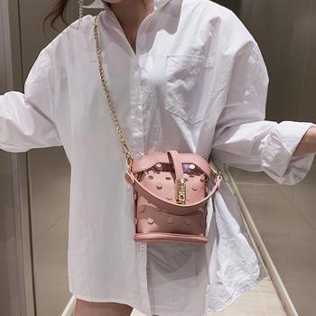 天彩翼飞2019夏季新款透明包包时尚锁扣链条女包