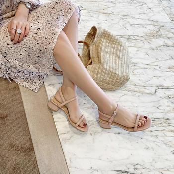 慕沫女鞋夏季凉鞋女露趾?#25351;?#38795;一字扣带罗马鞋