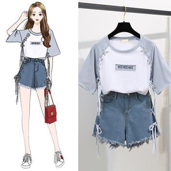 天使格格新款夏季休闲时尚两件套装宽松拼色T恤套装