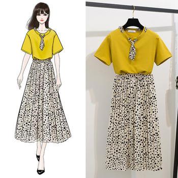 新款波点丝巾T恤上衣中长款两件套百褶斑点裙半身裙