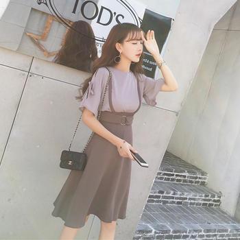 天使格格夏系带上衣两件套背带裙中长款连衣裙