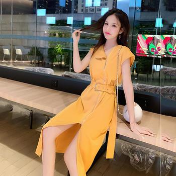 天使格格新韩版不规则开叉连衣裙V领不对称裙子