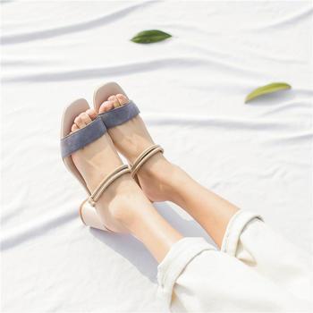 慕沫女鞋夏季新款高跟凉鞋女露趾罗马鞋两穿半拖女鞋