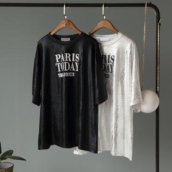兰菲港风气质街头时尚百搭宽松显瘦亮面字母T恤衫