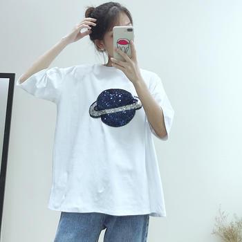 兰菲2019时尚简约新款圆领超酷亮片星球短袖T恤