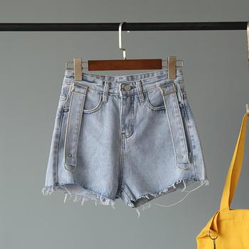 兰菲2019韩版春夏新款高腰显瘦A字热裤牛仔短裤