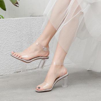 慕沫夏季新款凉鞋透明水晶鞋?#25351;?#39640;跟鞋一字扣带女鞋