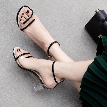 慕沫女鞋夏季新款露趾凉鞋?#25351;?#39640;跟鞋一字扣带罗马鞋