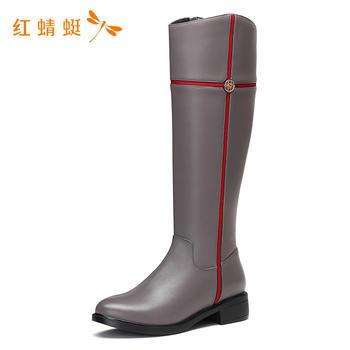 红蜻蜓圆头高筒简约纯色女靴WNC6356
