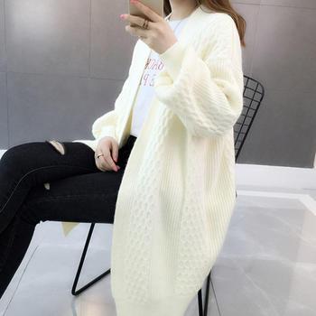 慵懒风毛衣中长款女式2019新款韩版宽松针织开衫外套
