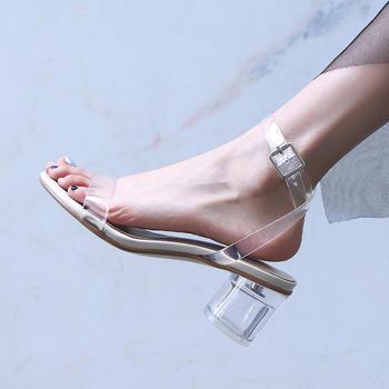 慕沫夏季新款露趾高跟鞋脚环扣带?#25351;?#20013;空女鞋水晶鞋