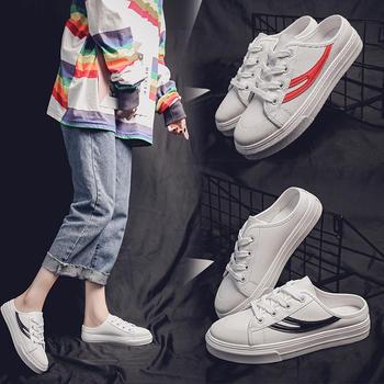 安欣娅新款学院风系带半拖式女鞋休闲小白鞋