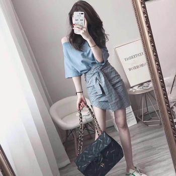 2019夏季新款女韩版小心机包臀裙子设计感两件套