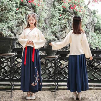 新款女装复古重工刺绣V领长袖上衣+裙子汉服套装